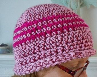 Pink Heather cloche beanie hat