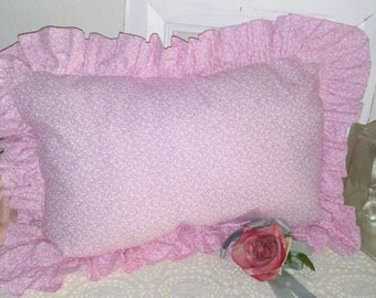 Cottage Chic Custom Hand Made bed Decor Pillow Pink Tiny White Vines Hearts Extra full Ruffled edge French Country