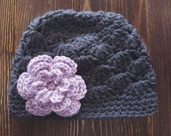 Girl Crochet Hat, Newborn Girl Hat, Gray and Lavender Hat, Baby Girl Hat, Newborn Photo Prop, Girls Gray Hat, Baby Girl Beanie