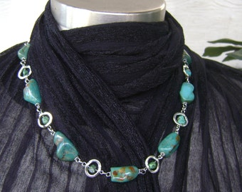 Turquoise Nugget Stone Beaded Silver Chain Linked Necklace