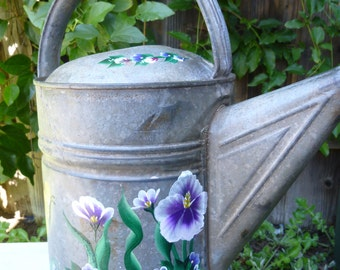 Hand Painted Vintage Metal Galvanized Watering Can Pink Roses Purple Iris Blue Violets Yellow Gold Butterflies Shabby Chic