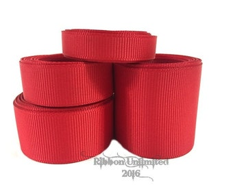 10 Yards WHOLESALE Solid Red grosgrain ribbon LOW SHIPPING Cost