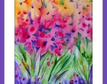 Watercolor Flowers, Garden Watercolor, Wildflower Art, Colorful Watercolor, Pink and Green, Pink and Purple, Spring Flowers, Martha Kisling