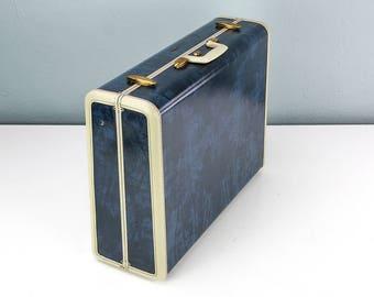 Vintage Large Blue Marble Samsonite Suitcase with RARE Tartan Plaid Interior, Blue Suitcase, Vintage Suitcase, Vintage Samsonite, Film Prop