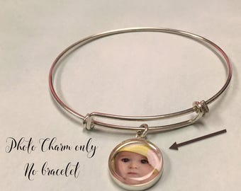 Photo charm **ONLY** (NO BRACELET with this order) available in silver or gold plated or bronze, 16mm.  Also available in Sterling Silver