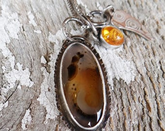 Smiley Face Montana Agate cluster charm pendant moku game and jelly opal
