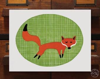 Daydreaming Fox, fine art relief print