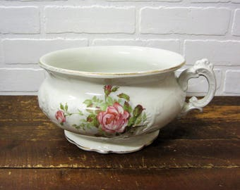 Gorgeous Vintage Pink Rose Floral Etruria Mellor & Co. Ironstone Farmhouse Chamber Pot