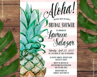Pineapple Invitation, Bridal Shower Invitation, Aloha Luau Hawaiian Printable Invitation