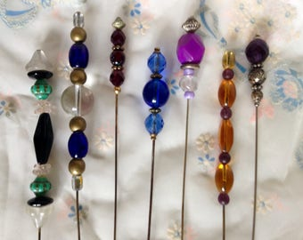 7 Stunningly Simple Vintage Hat Pin Lot