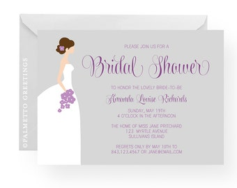 Bridal Shower Invitation with customized bride silhouette - Choose colors to match the bride and wedding theme (Lovely Bride)