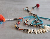 Boho Coral Teeth Necklace,  Ethnic Tibet Agate Necklace,  Bohemian Turquoise Necklace,  Boho Chic Tassel Necklace,  Free Shipping