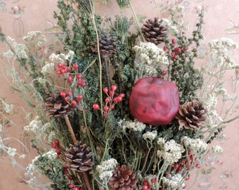 Dried Flower Bouquet Floral Arrangement Christmas Holiday Pine Cones Pomegranate Queen Anne's Lace Yarrow and Red Berries All Natural