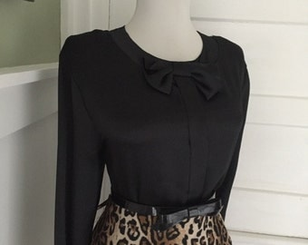 Flirty Vintage 1960s 1980s Black Satiny Long Sleeve Button Down Blouse W Bow