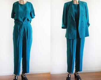 Vintage Silk Pant Set / Teal / Minimalist Pant Set / Size M / 100% Silk