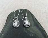 Silver Bohemian Drop Earrings - Simple Everyday Silver Earrings - Silver Boho Jewelry - Silver Teardrop Earrings