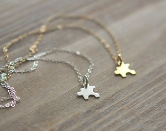 Tiny Puzzle Piece Necklace - Autism Awareness Necklace - Best Friends Necklace - Sterling Silver or Gold - Mother's Day Gift