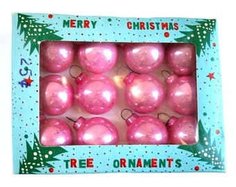 Vintage Pink Tree Ornaments, Vintage Mini Pink Ornaments,  Mercury Glass Orbs, Feather Tree Ornaments, Pink Christmas Xmas Holiday Decor