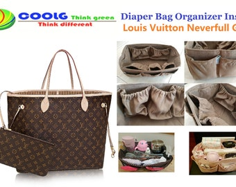 Diaper bag organizer insert for LV Neverfull GM bag / Faux Suede 30x17cm + FREE Pacifier Holder
