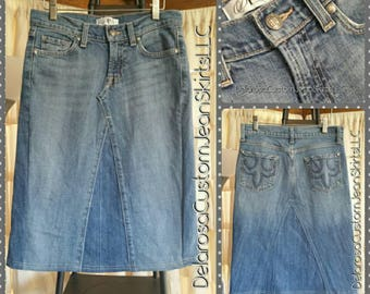 DELAROSA Ready to ship short denim skirt size 25 or size 0 @ 22 inches