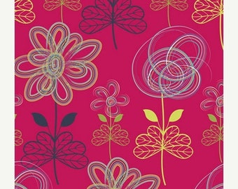 40% OFF SALE - Drawn Art in Cherry (MO-4803) - Art Gallery Fabric - Modernology by Patricia Bravo - By the Yard