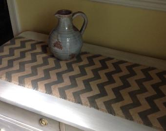 Chevron Burlap Table Runner Grey 10-14 x 72 or 84 Rustic/Modern Home Decor by sweetjanesplan