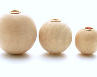 Wood beads graduated 12-20mm with gold grommeted holes - set of 6 graduated round beads