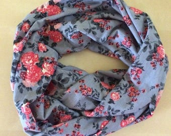 Jersey Knit Infinity Scarf - gray with peach and coral flowers - floral