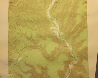 Vintage Topographic/Geologic Survey Map of First Fork area in Cameron County, Pennsylvania, 1945