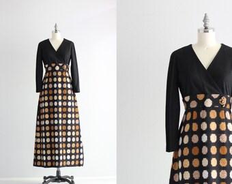 Long Sleeve Maxi Dress . 60s 70s Dress . Sweater Dress . Knit Wool Maxi Dress