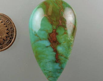 Turquoise Cabochon, Turquoise Mountain, Kingman Turquoise, Designer Cabochon, Hand Cut Turquoise, Pendant Cab, Gift Cab, C1974, 49erMinerals