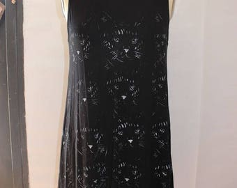 A short Black dress with cats print