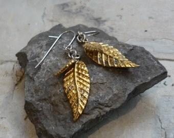 Gold-tone Silver Earrings, Gold Dipped Leaf Earrings, Botanical Dangles, Bohochic Two-tone Leaf Dangles, Woodland Organic Dangles Fu EG546-2