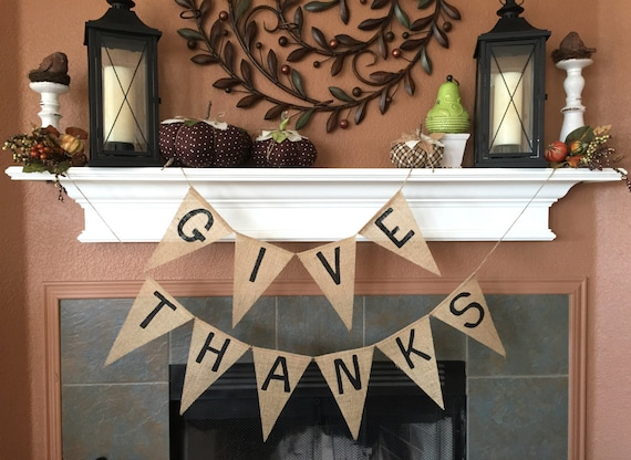 Thanksgiving Banner, Give Thanks Banner, READY TO SHIP, Give Thanks Burlap Banner, Thanksgiving Decor, Thanksgiving Decoration, Burlap Decor