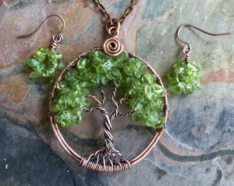 Peridot Earrings in antiqued copper, Matching earrings for Peridot Tree of Life Necklace,Tree of life Necklace,August Birthday Gift