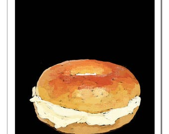 Bagel and Cream Cheese-Pop Art Print