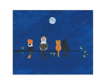Cats on a Branch at Night - Fluffy Feline Friends