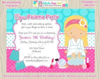 Spa Pajama Party Birthday Invitation Spajama party spa party invitation invite DIY Print Your Own Invitation - Choose your girl