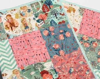 Baby Girl Quilt, Organic Acorn Trail, Teagan White, Blue Coral Pink, Birch Fabric, Woodland Modern Blanket Crib Blanket Bedding, All Natural