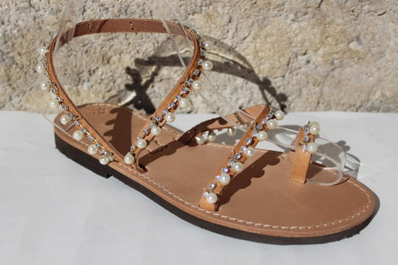 DAY SALE! White Pearls Sandals, Leather Sandals  Sandales grecques