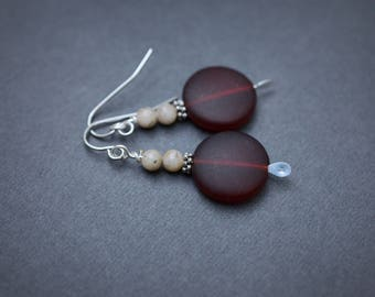Red Sea Glass Earrings, Recycled Cultured Seaglass Earrings, Surgical Steel Earrings, Ruby Red Earrings, Feldspar Earrings