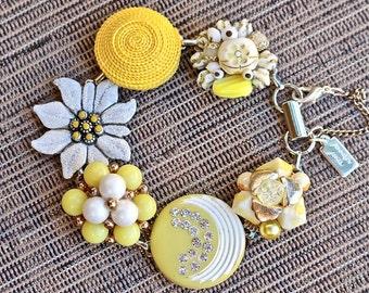 Reclaimed Vintage Earring Bracelet, Gift for Her, Bridesmaid gift set, Lemon Yellow, Cluster, Silver Rhinestone, Jennifer Jones OOAK, Flower