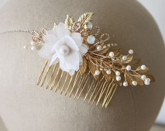 Gold floral hair comb, bridal hair comb, wedding hair comb - 'Cherub'