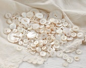 Mother of Pearl Buttons - Lot of over 100 Vintage Ivory White Shell Buttons