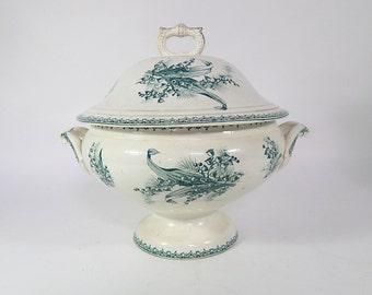 Large French Vintage Porcelain Soup Tureen Green Transferware
