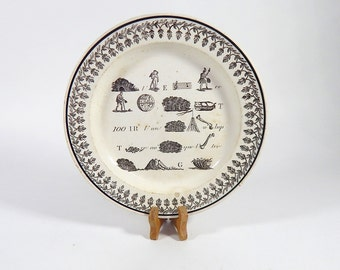 French Antique Plate Rebus Theme c.1830