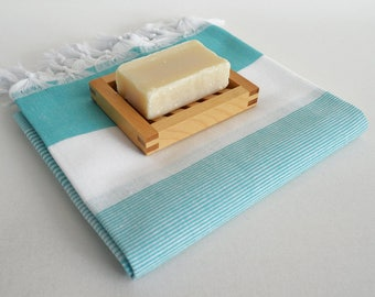 NEW / SALE 70 OFF/ Turkish Beach Bath Towel Peshtemal / Turquoise / Wedding Gift, Spa, Swim, Pool Towels and Pareo