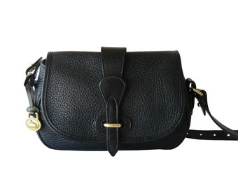 Dooney & Bourke Petite Black Leather Crossbody Tack Bag AWL