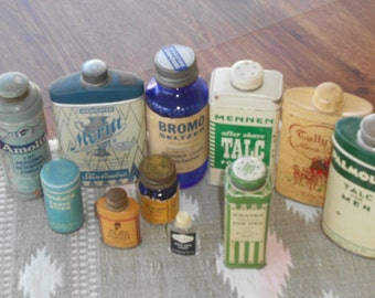 11 Different Vintage Tins, Bottles, Shaving, Talc, Personal Deodarant, Sample Size, Art Deco, 1930s-60s, Cool Collectables for Decorating