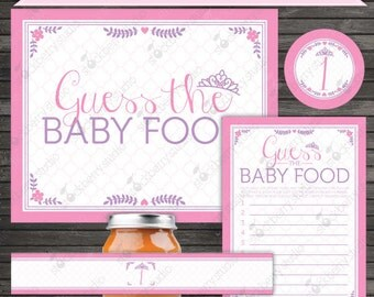 Princess Baby Shower Guess the Baby Food Game Printable - Instant Download - Girl Baby Shower Games - Baby Shower Activities - Party Games